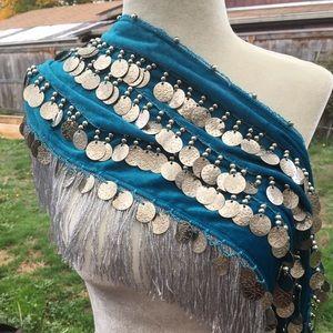 Velvet coin hip scarf